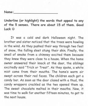 Find Words Appeal to Senses (Halloween)