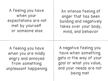Feelings and Emotions Definition Cards and Posters