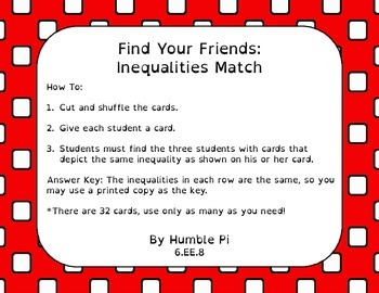 Find Your Friends: Inequalities Match- 6.EE.8