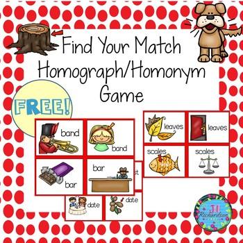 Homographs/Homonyms Literacy Game Find Your Match (Fun ESL Game!)
