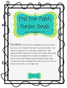 Find Your Match Number Bonds to 15