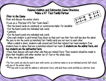 Related 'Make a 10' Fact Family Team Game