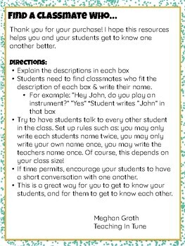 Find a Classmate Who... A Getting-To-Know-You Activity for Elementary Music