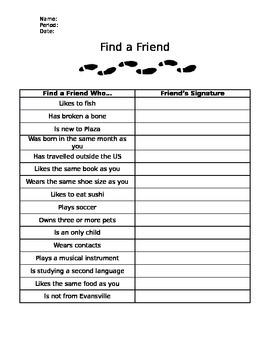 Find a Friend First Day Activity