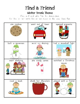 Find a Friend Activity Packet