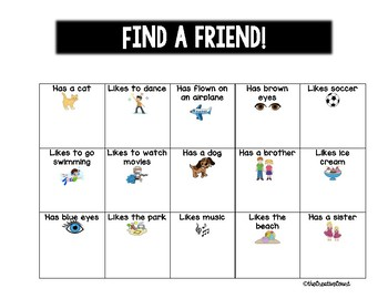 Find a Friend Bingo!