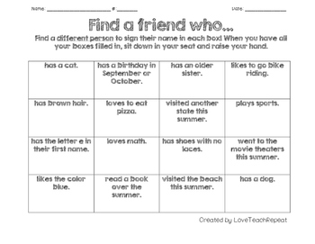 Find a Friend Bingo! {Back to school icebreaker freebie}
