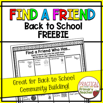 Find a Friend ~ FREEBIE ~ Back to School Community Building Activity