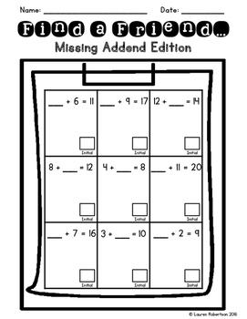 Find a Friend: Missing Addend Addition