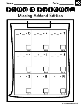 Find a Friend: Missing Addend Addition to Twenty