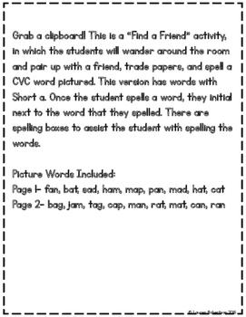 Find a Friend: Phonics CVC Words Edition {Short a}