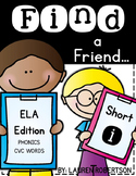 Find a Friend: Phonics CVC Words Edition {Short i}