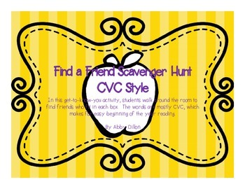 Find a Friend Scavenger Hunt with CVC Words