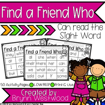 Find a Friend Who....Can Read the Sight Word