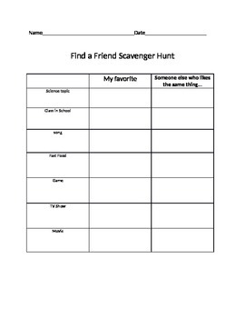 Find a Friend scavenger hunt for science