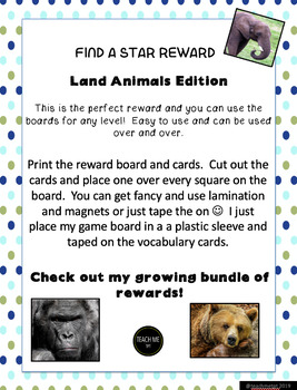 Find a Star Reward - VIPKID - Land Animals-  Level 4 Unit 2 Lessons 1-6