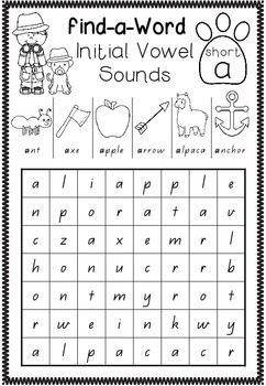 Find-a-Word - All Vowel Sounds
