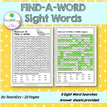 Find-a-Word Dolch Word List
