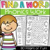 Find a Word Phonics Worksheets - CVC, Long Vowels, Digraphs, Blends & More!