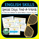 Find a Word Puzzles - Special Days of the Year for Middle School Lower Secondary