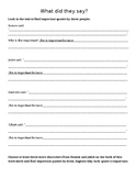 Find an Important Quote Worksheet for Romeo and Juliet