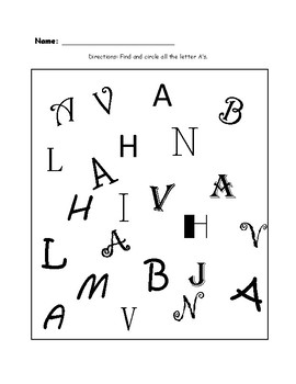 Find and Circle Letter A