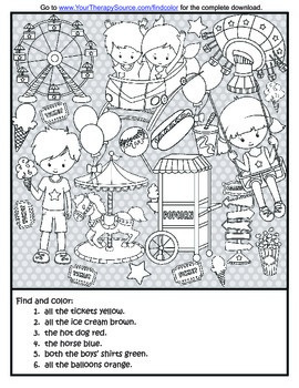 Find and Color Freebie - Visual Discrimination Activity