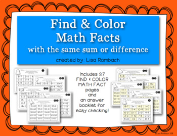 Find and Color Math Facts with the Same Sum or Difference
