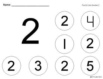 Find and Color Numbers 1-5
