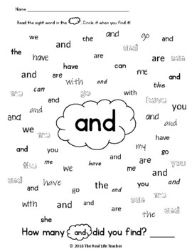 Preprimer Find Circle Count Sight Word Work for Center, Small Group, Independent
