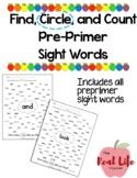 Preprimer Find Circle Count Sight Word Work for Center, Sm