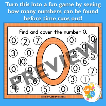 Find and Cover Number Activity Mats 0-10