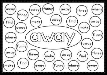 Find and Cover: Pre-Primer Sight Words