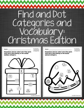 Find and Dot Categories and Vocabulary: Christmas Edition
