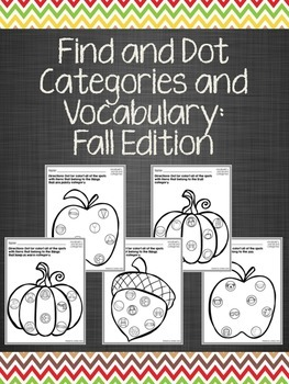 Find and Dot Categories and Vocabulary: Fall Edition