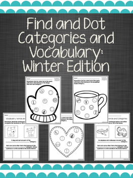 Find and Dot Categories and Vocabulary: Winter Edition