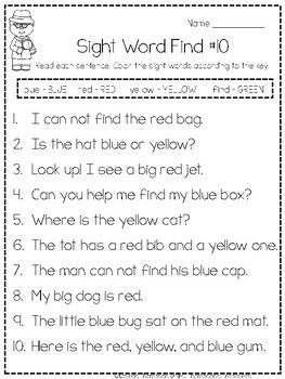 Find and Dot - Sight Words Activity (Pre-Primer)