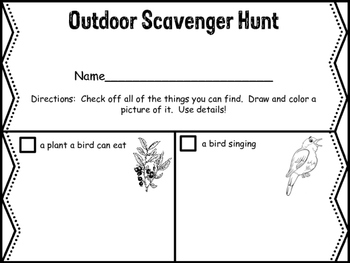 Find and Draw Outdoor Scavenger Hunt