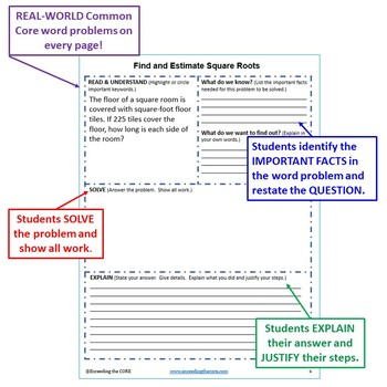 FIND AND ESTIMATE SQUARE ROOTS Word Problems with Graphic Organizers