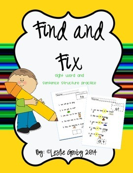 Find and Fix: Sight Word and Sentence Structure Practice (Morning Work)
