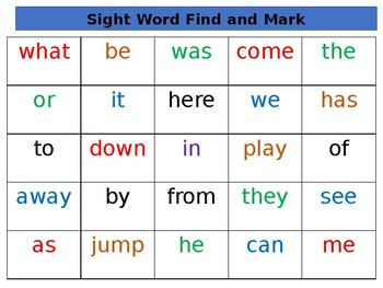 Find and Mark Sight words