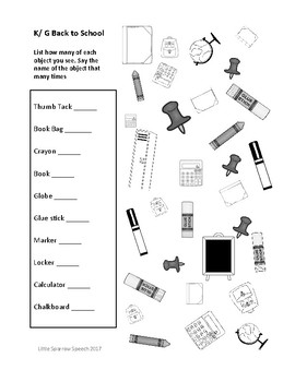 Find and Say Articulation Practice for Back to School