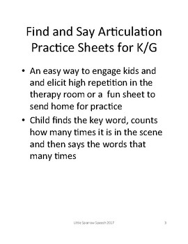 Find and Say Articulation Practice for Back to School K/G Freebie