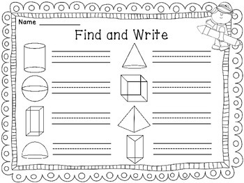 Shapes 2D and 3D Shapes Find and Write Math Center