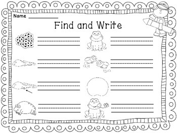 Frog Life Cycle Find and Write Science Writing Center Activity