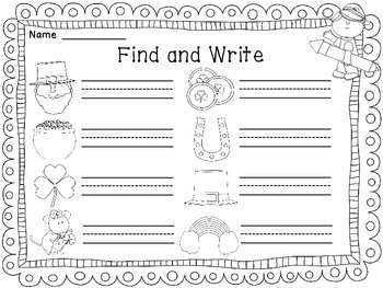 St. Patrick's Day Writing Center Activity
