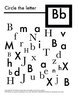 Find and circle the letter Bb