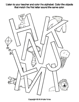 Find and color alphabet and matching objects