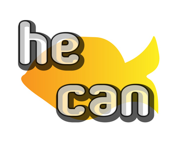 Find and color sight words- he, can