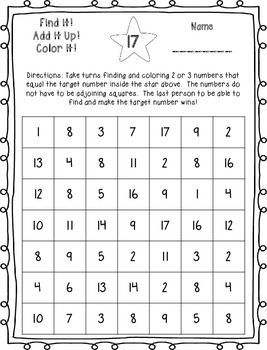 Find it! Add it Up! Color it! Target Numbers